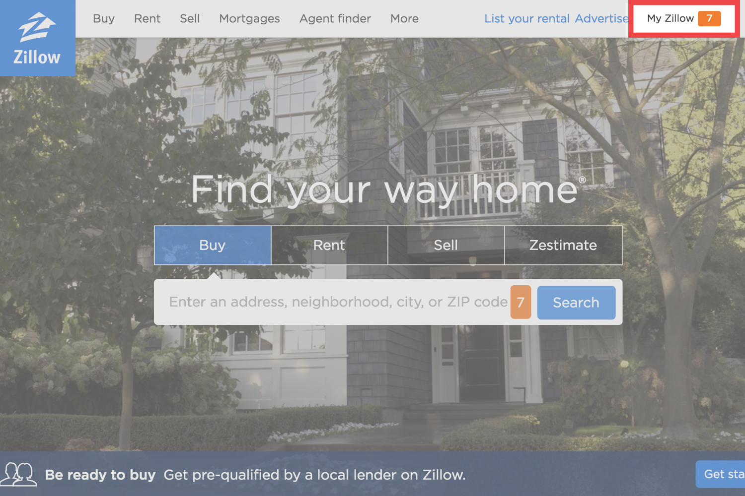How To Delete Your Zillow Account Zillow Mobile Homepage on chase mobile, instagram mobile, bank of america mobile,