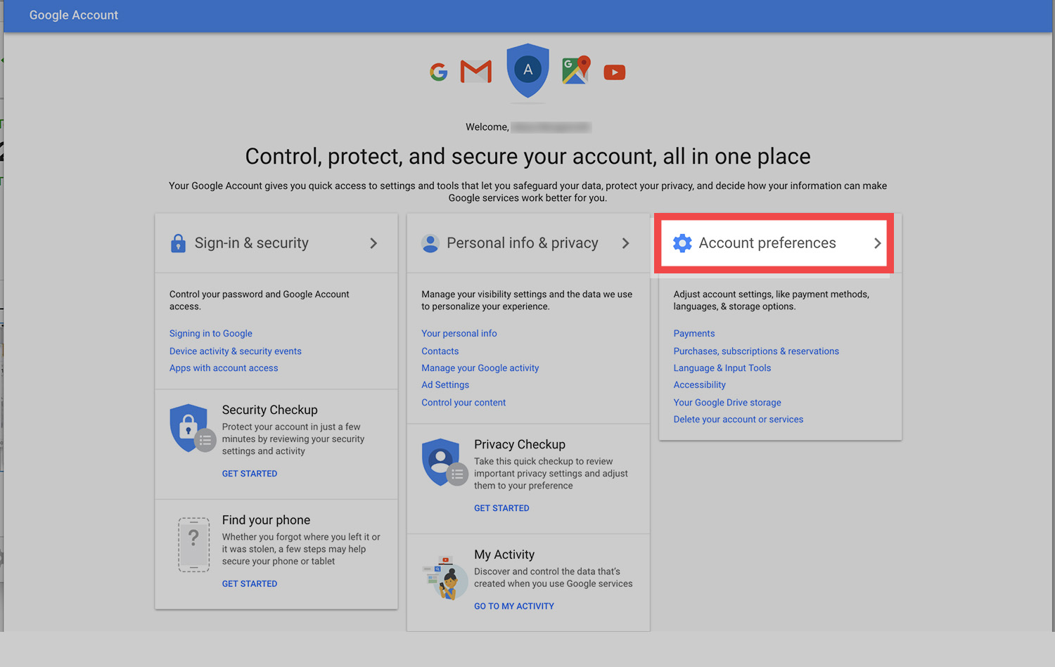 how to delete gmail account from google page