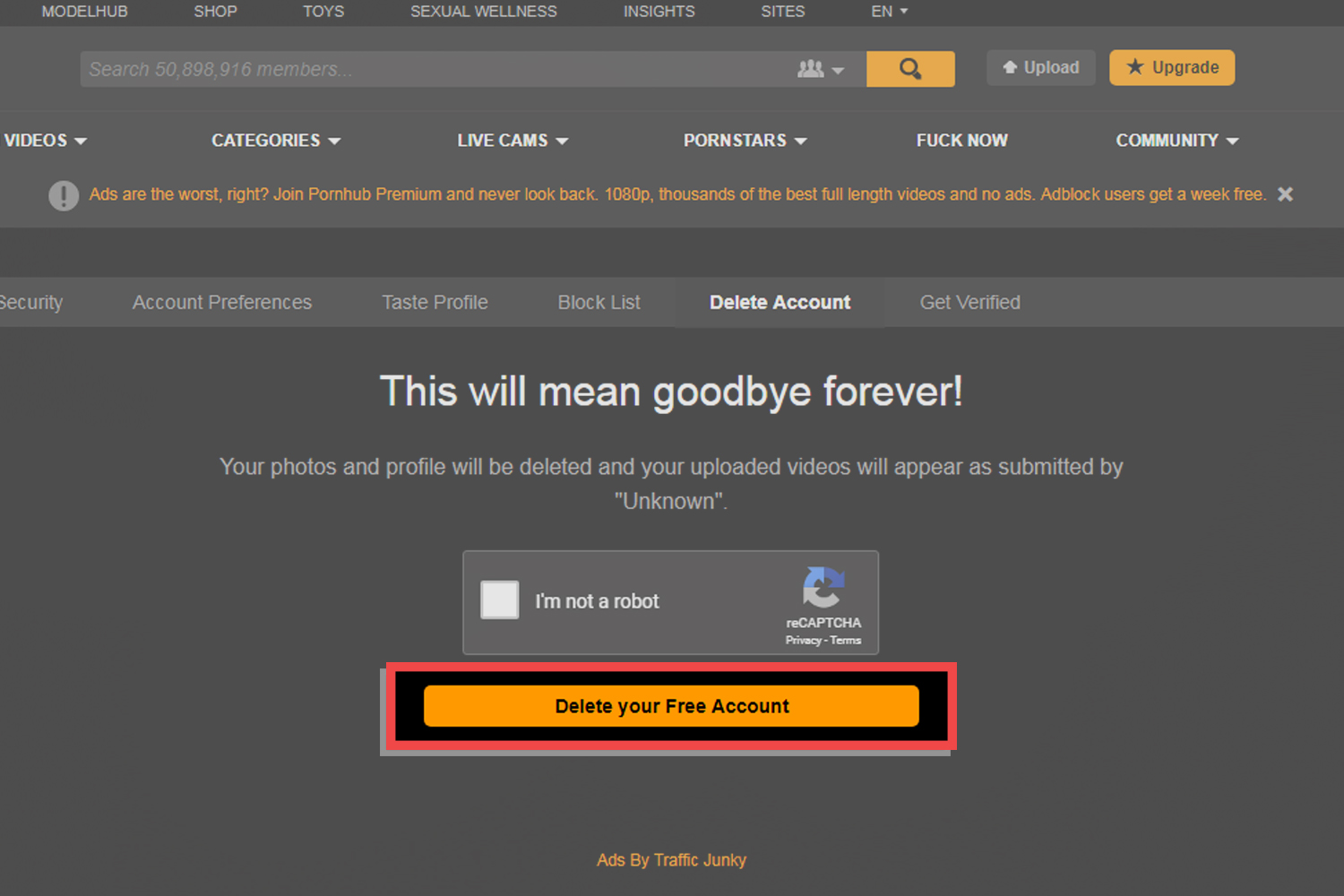 How to delete pornhub account